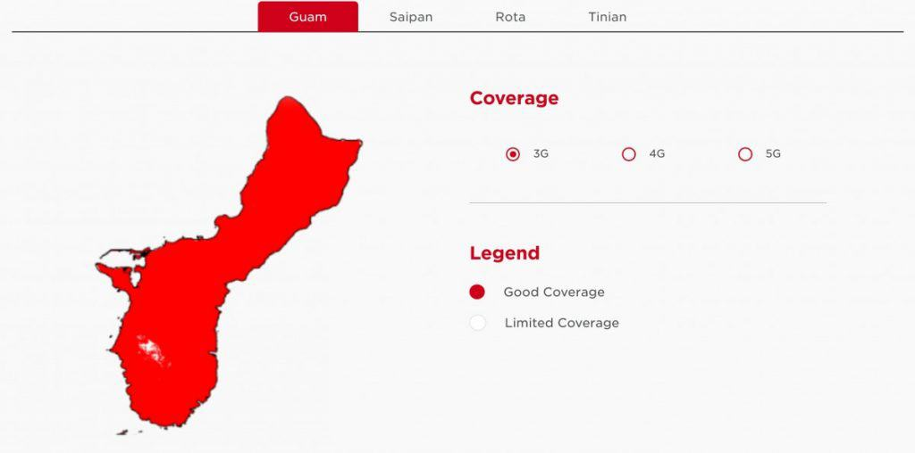 DoCoMo Pacific Guam 3G Coverage Map