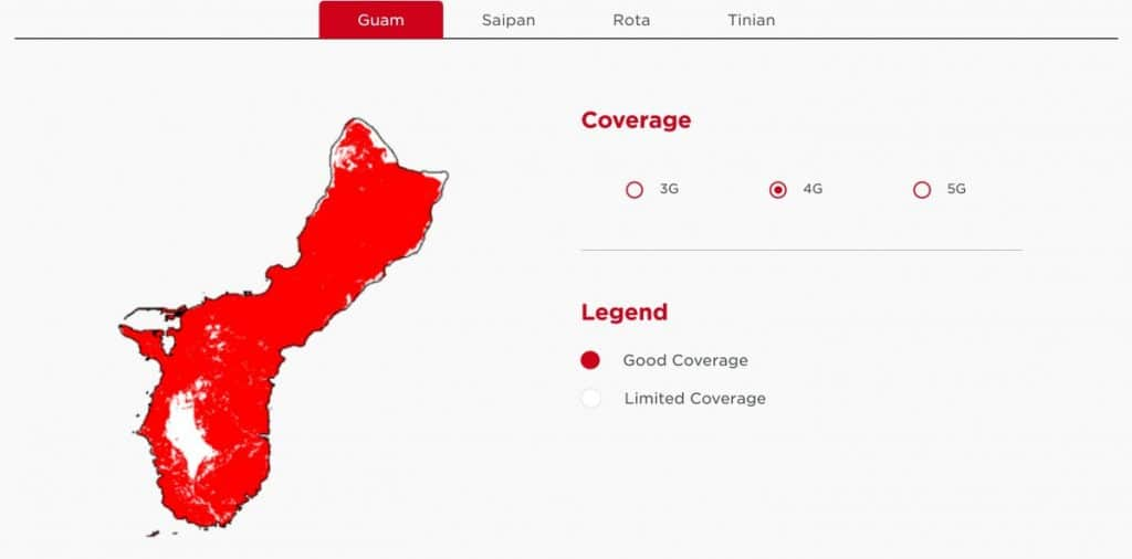 DoCoMo Pacific Guam 4G Coverage Map