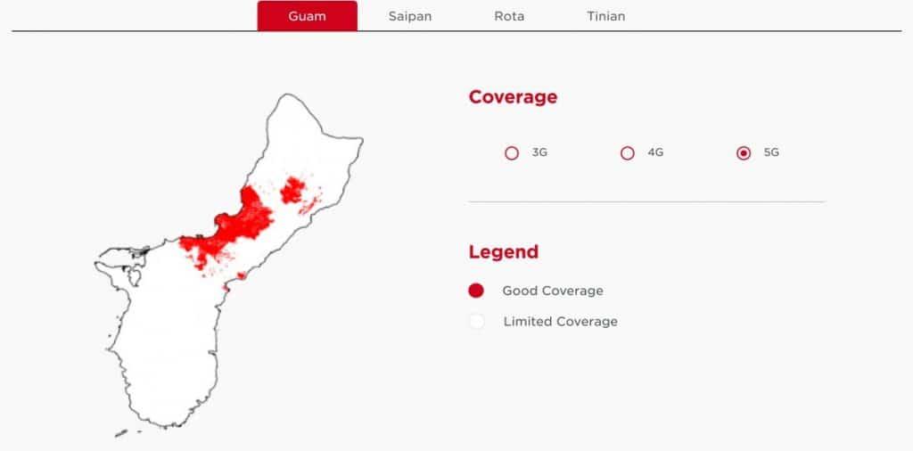 DoCoMo Pacific Guam 5G Coverage Map