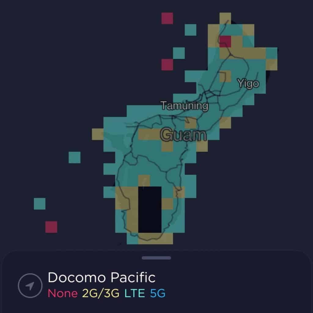 DoCoMo Pacific Guam Coverage Map
