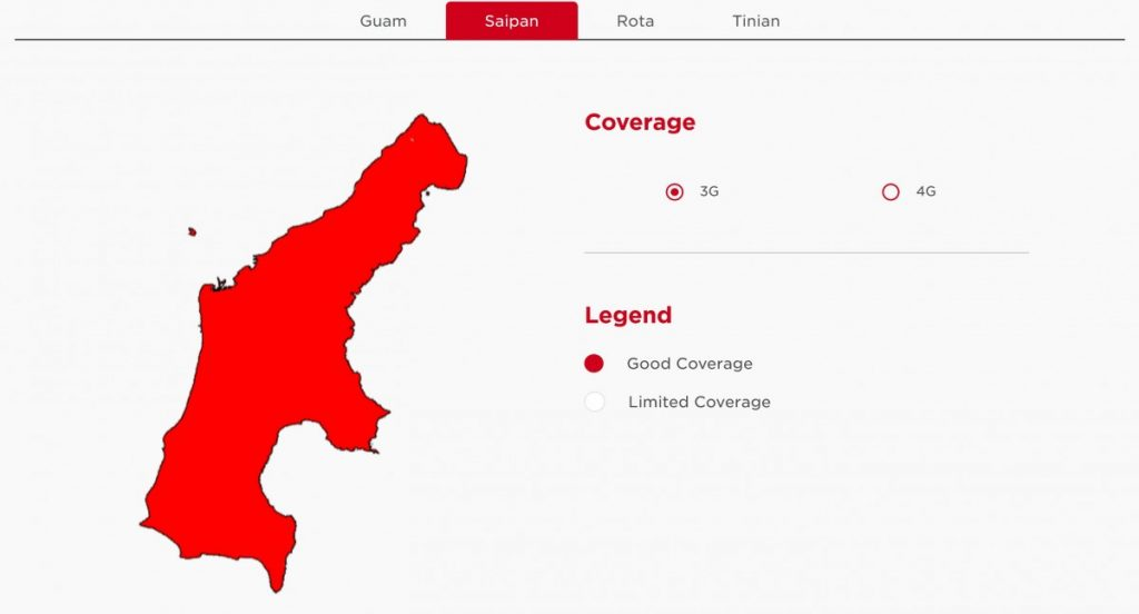 DoCoMo Pacific Saipan 3G Coverage Map