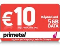 PrimeTel 10 EUR 5 GB Data Top Up Card
