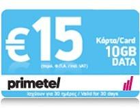 PrimeTel 15 EUR 10 GB Data Top Up Card