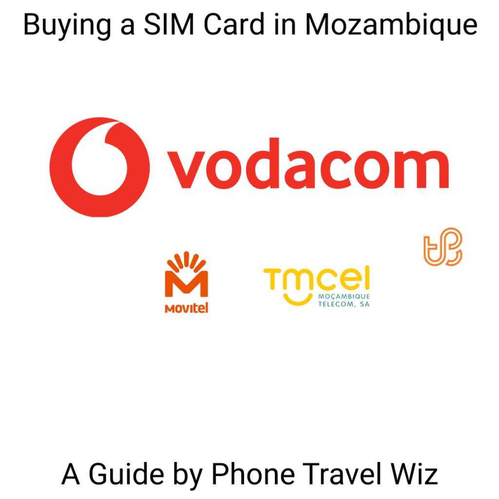 Buying a SIM Card in Mozambique Guide (logos of Vodacom, Movitel & Tmcel)